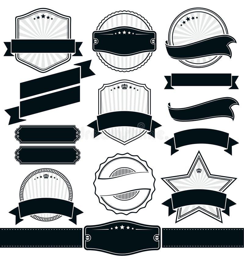 Retro rocznik odznaka, etykietka i sztandaru set, royalty ilustracja
