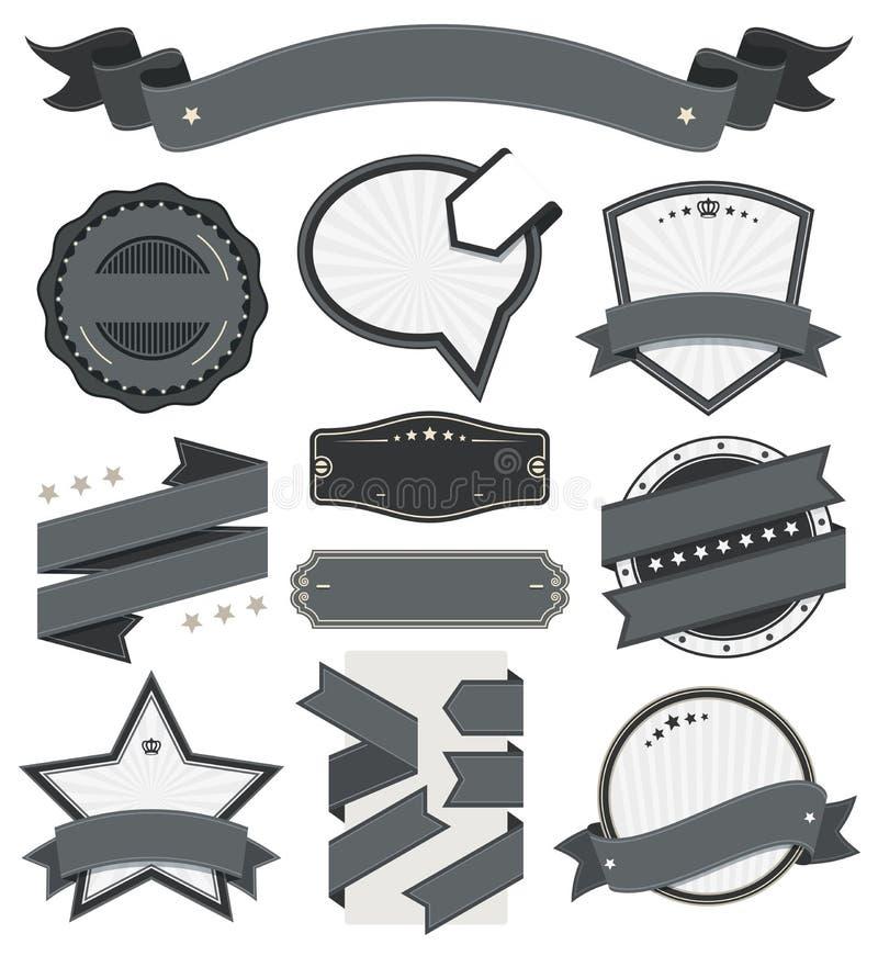 Retro rocznik odznaka, etykietka i sztandaru set, ilustracja wektor