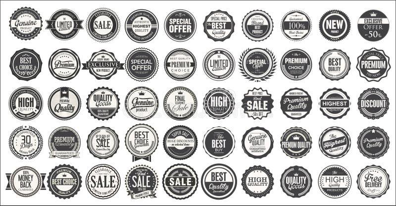 Retro rocznik odznaki i etykietki mega kolekcja royalty ilustracja