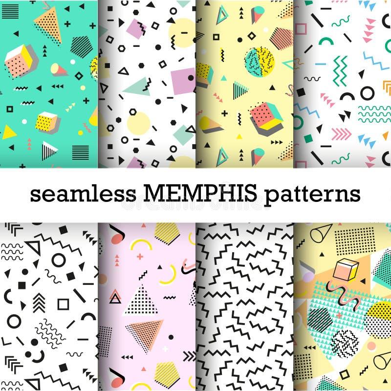 Retro rocznik 80s lub 90s mody styl Memphis bezszwowi wzory ustawiający ilustracja wektor