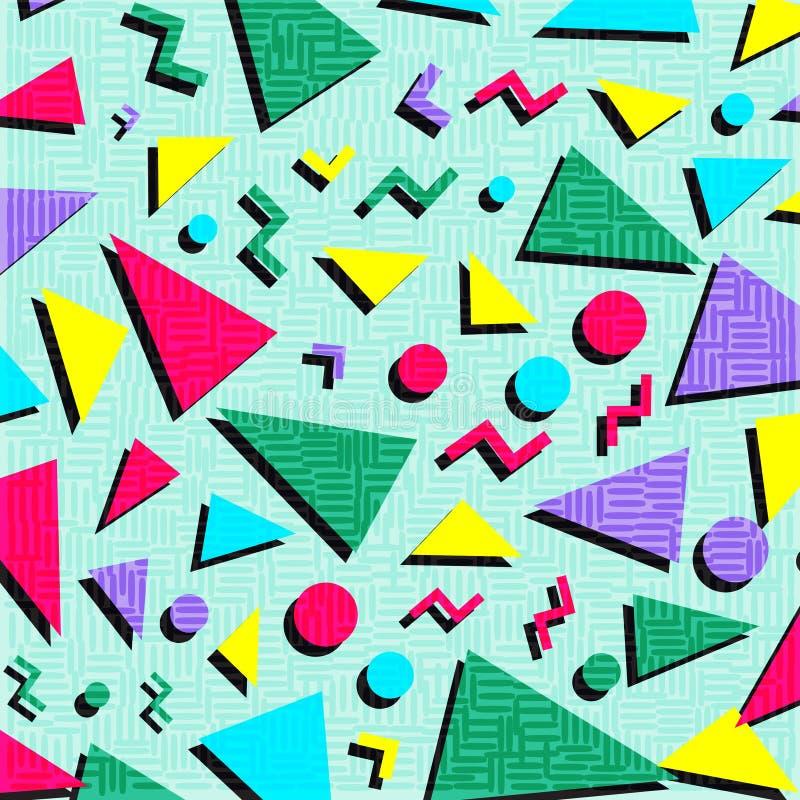 Retro rocznik 80s lub 90s mody stylu abstrakta wzoru backgrou ilustracja wektor