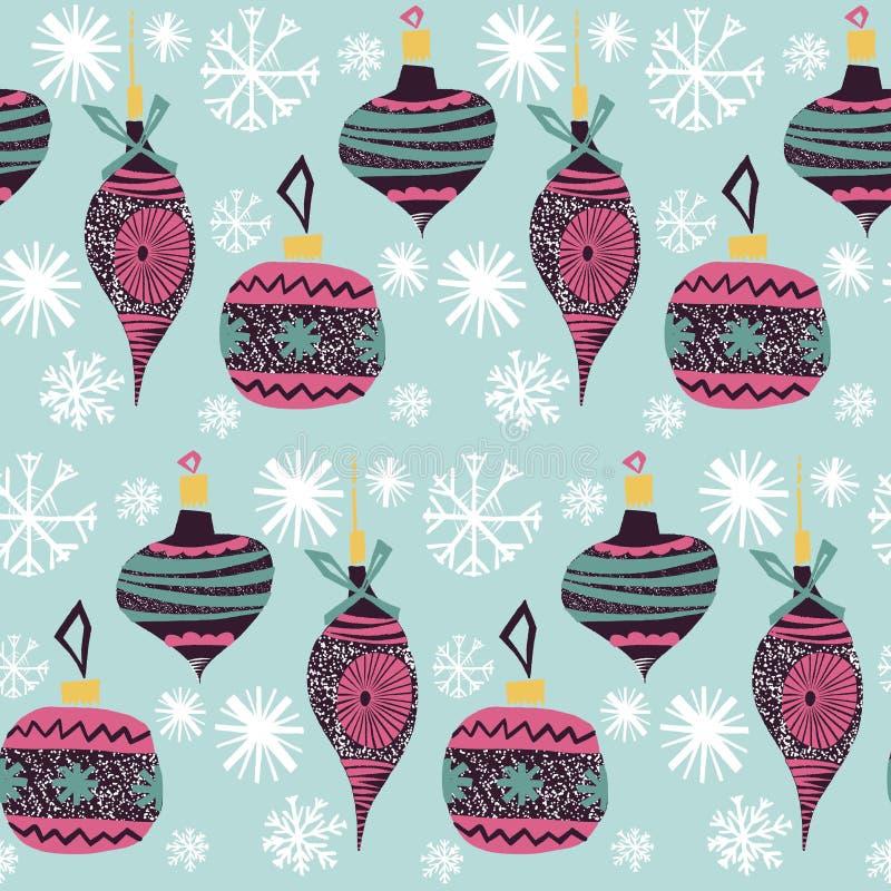 Retro rocznik sztuki nowego roku kolażu wzoru piękna artystyczna Skandynawska graficzna urocza wakacyjna choinka bawi się wektor ilustracja wektor