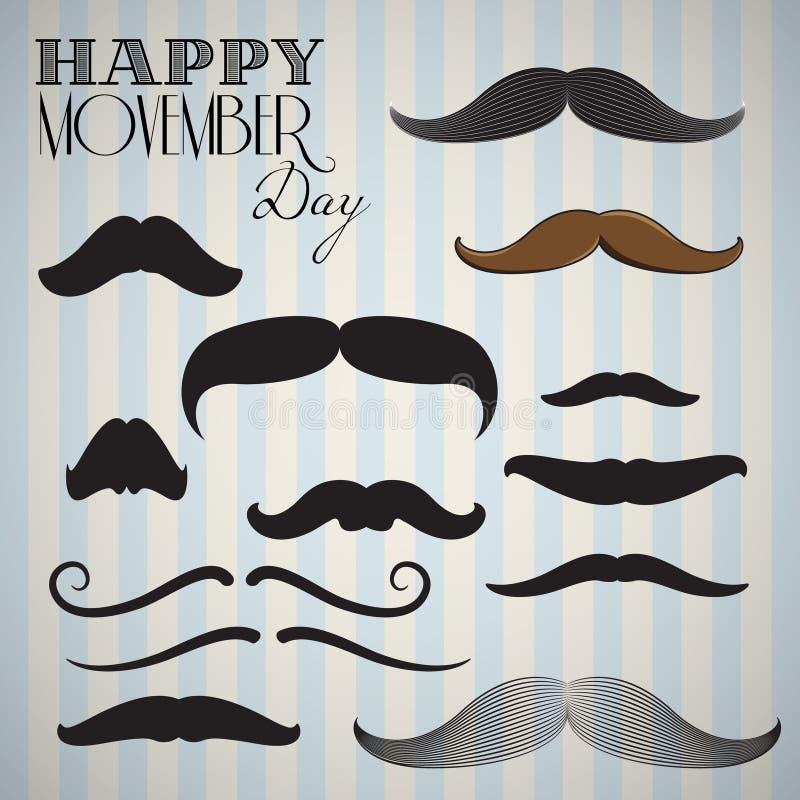 Retro, rocznik wąsy ustawiający dla szczęśliwego movember dnia/ ilustracji