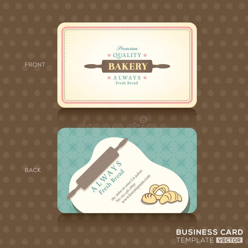 Retro rocznik wizytówka dla piekarnia domu royalty ilustracja