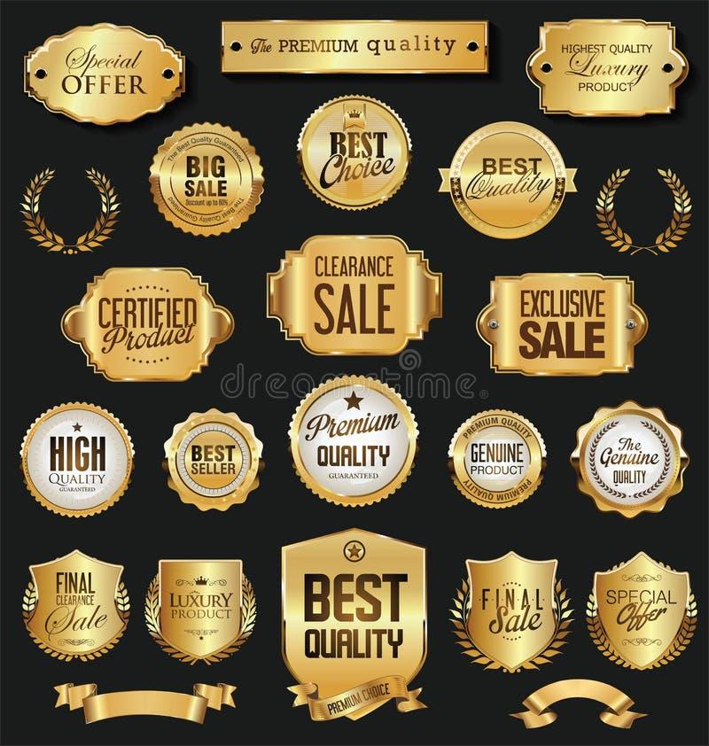 Retro rocznika etykietek i odznak wektoru złota kolekcja ilustracji