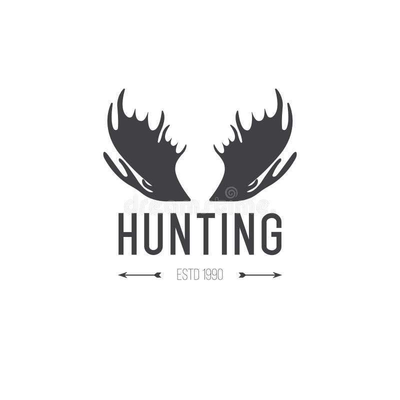 Retro rocznika logotypu lub insygni projekta Wektorowy element, biznesu szyldowy szablon Jeleni polowanie Tropić dla łosia Łosia  ilustracji