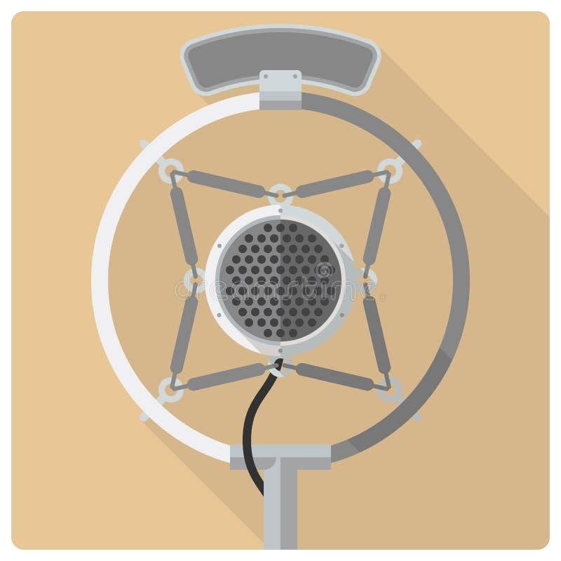 Retro rocznika mikrofonu wektoru ikona ilustracja wektor