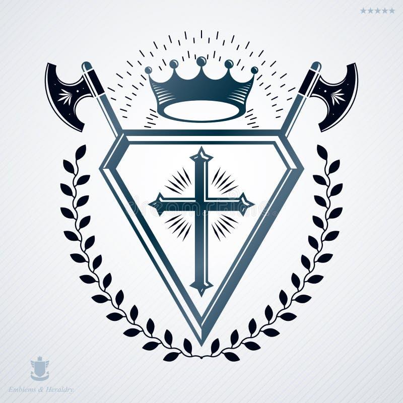 Retro rocznika projekta wektorowy element, heraldyczna królewska insygnia ilustracji