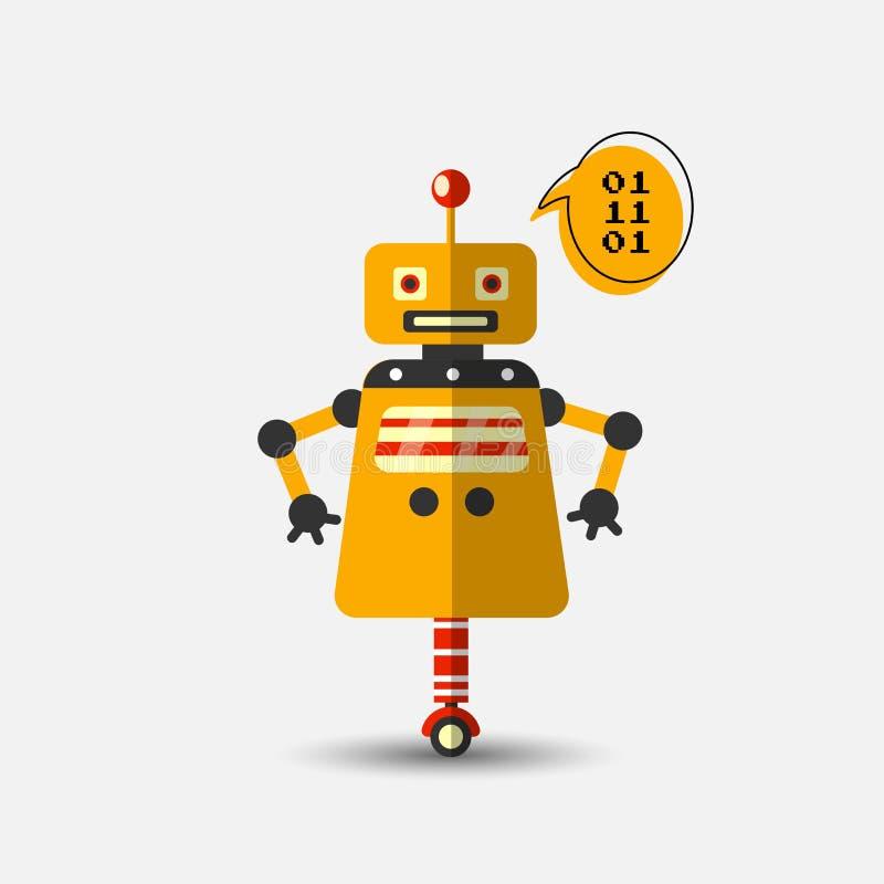 Retro rocznika robota śmieszna wektorowa ikona w mieszkanie stylu odizolowywającym na popielatym tle Wektorowa rocznik ilustracja royalty ilustracja