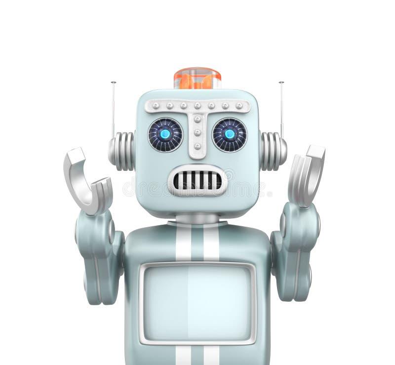 Retro rocznika robota dźwiganie wręcza stroskanie i patrzeje ilustracja wektor