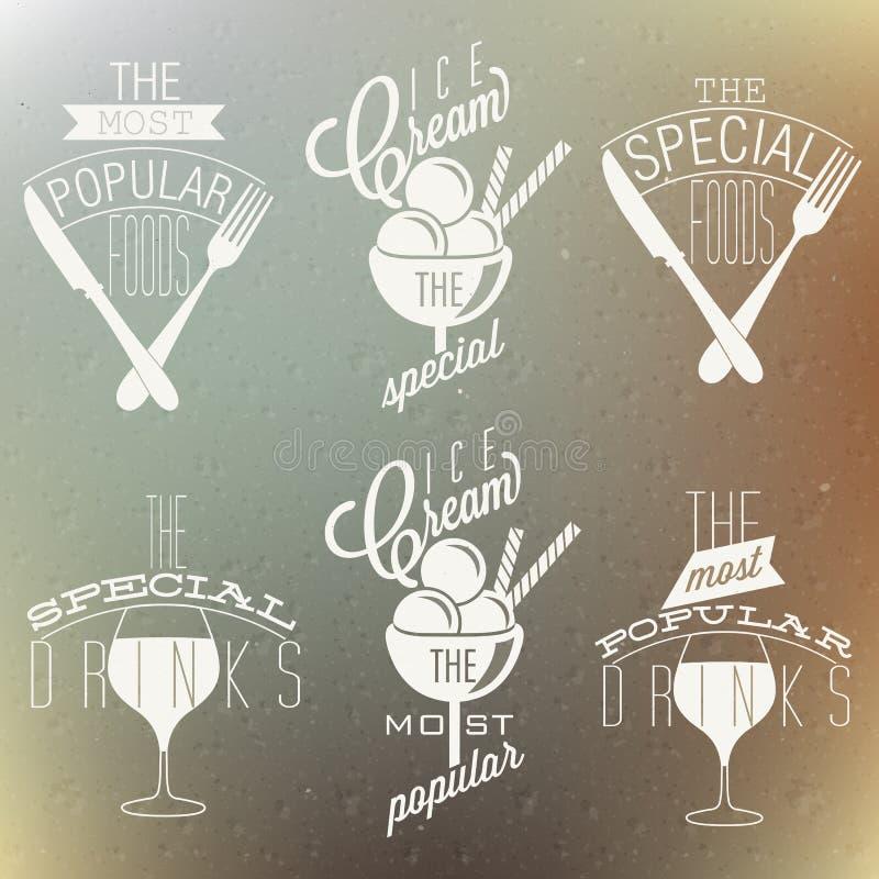 Retro rocznika stylu foods i projekty. royalty ilustracja