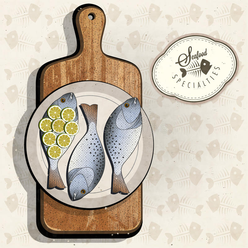 Retro rocznika stylu ryba specjalność z Tnącą deską ilustracja wektor