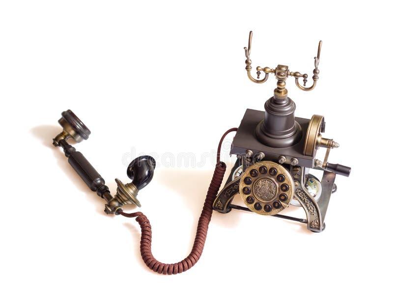 Retro rocznika telefon odizolowywający obraz stock