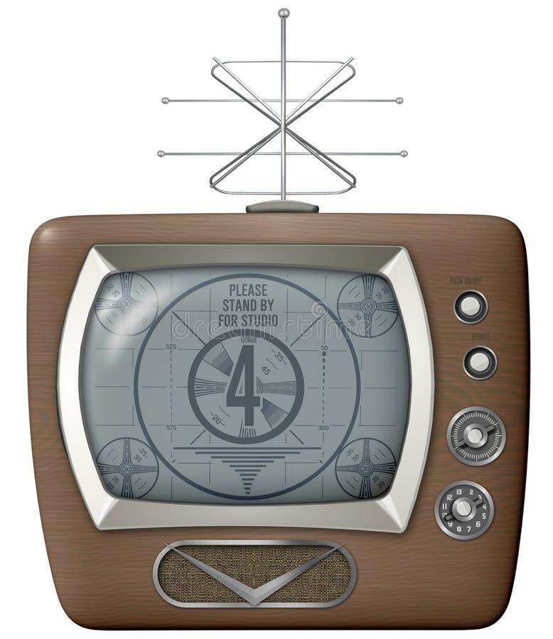 Retro rocznika TV wektoru Odosobniona antena ilustracja wektor