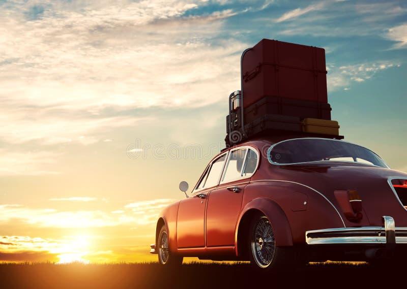 Retro rode auto met bagage op dakrek bij zonsondergang Reis, vakantieconcepten royalty-vrije illustratie