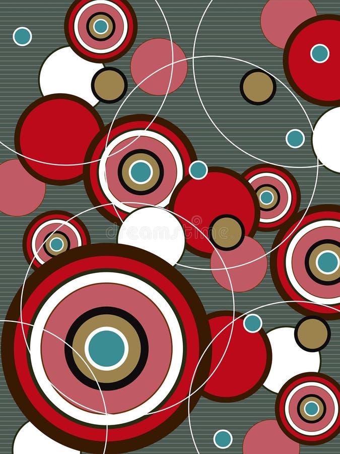 Retro rode en bruine pop cirkel vector illustratie