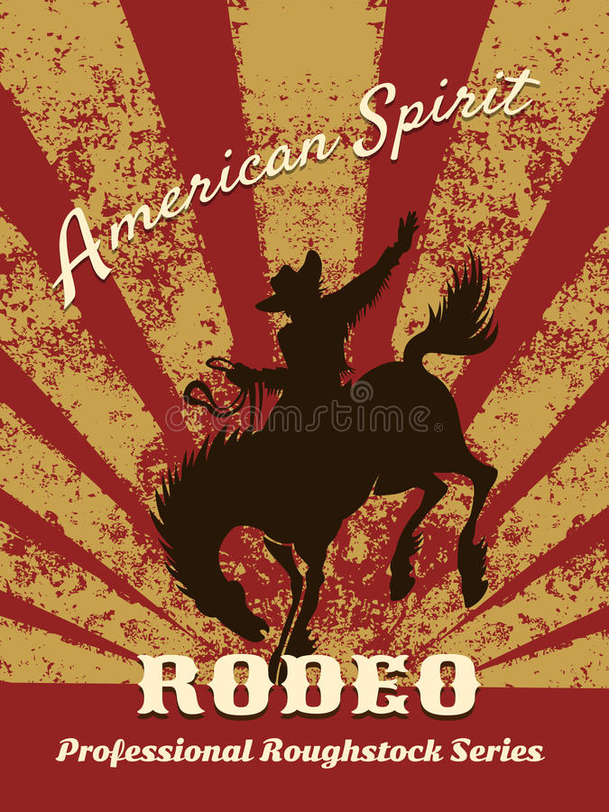 Retro rodeo plakat royalty ilustracja
