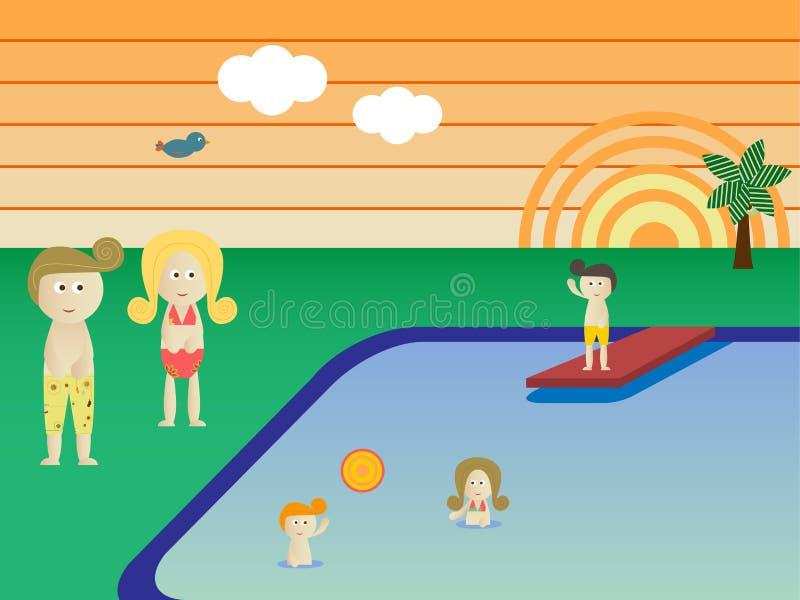 retro rodzinny basen ilustracji