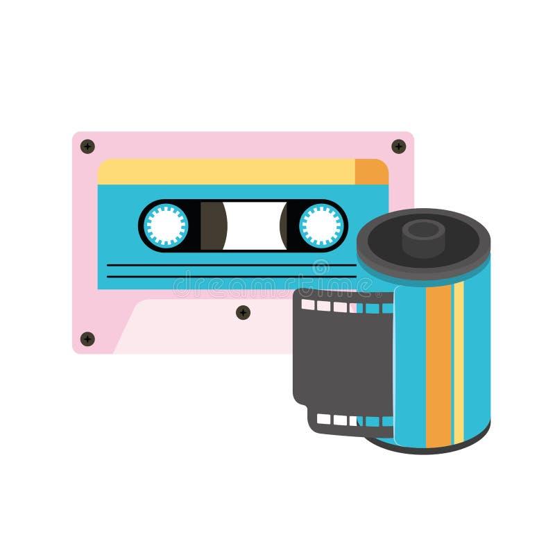 Retro rolka fotograficzna i kaset ninetys ikona royalty ilustracja