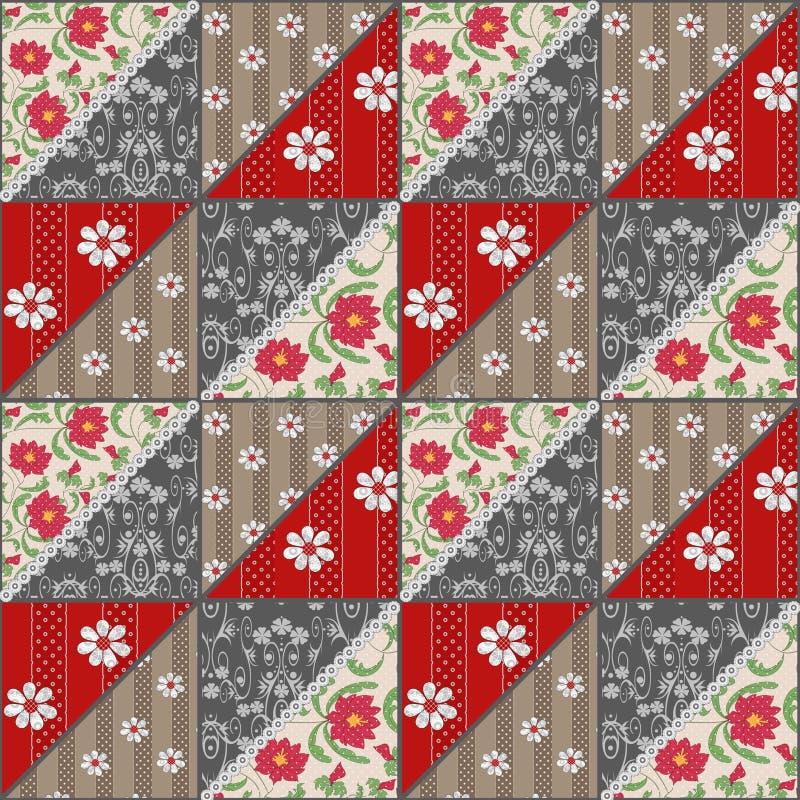 Retro rood de bloemenpatroon van het lapwerk naadloos kant stock illustratie