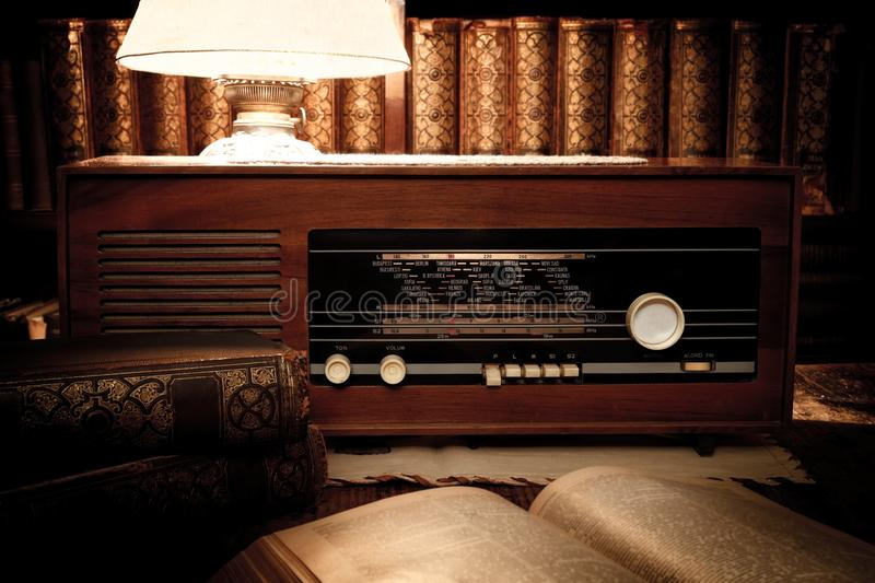 Retro room. Room with retro style, books, radio, lamp