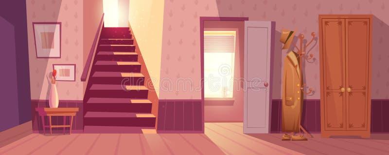 Retro room interior vector illustration. Room interior vector illustration of retro corridor or hallway entrance with furniture. Cartoon flat background of stock illustration