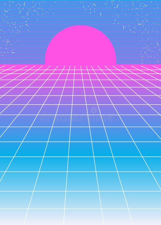 Retro rosa blå bakgrunds80-talstil med den rosa solen stock illustrationer