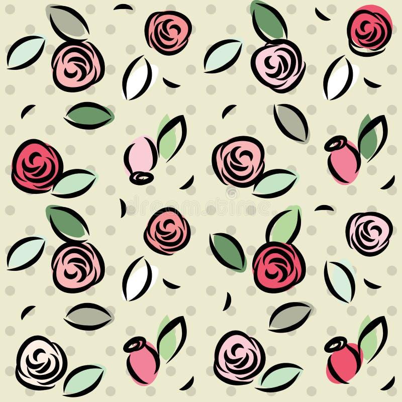 Retro Roses Pattern Royalty Free Stock Photos