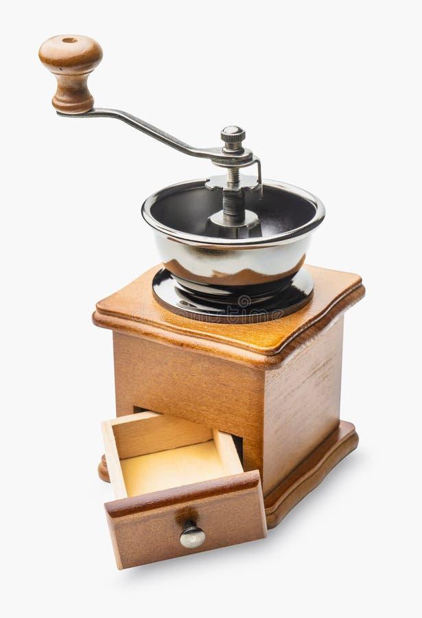 Retro rostfri manuell kaffeBean Grinder Wooden Nut Mill hand royaltyfri bild