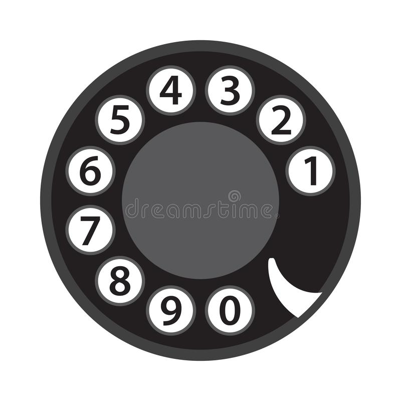 Rotary phone dial, old telephone numbers, abstract disk, retro vintage phone disc, black isolated on white background, vector illu stock illustration