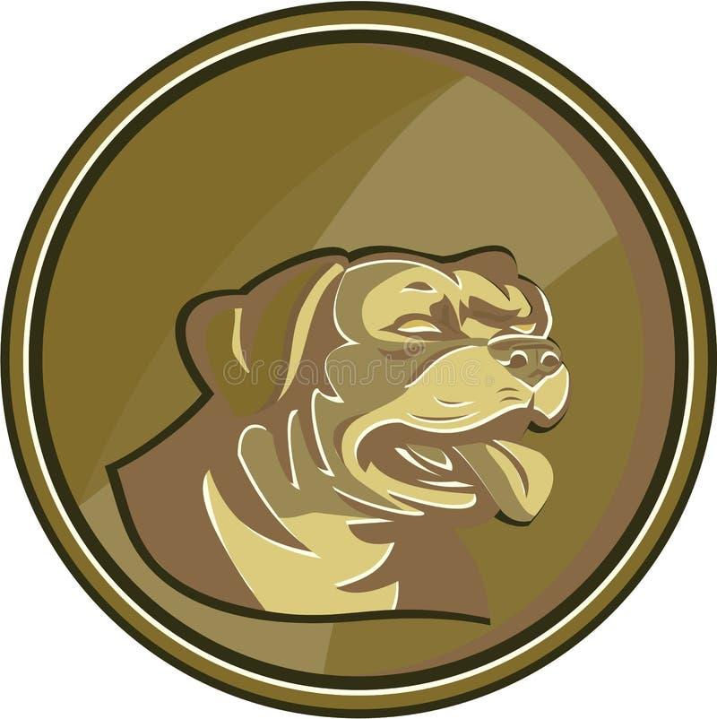 Retro Rottweiler vaktDog Head Gold medaljong stock illustrationer