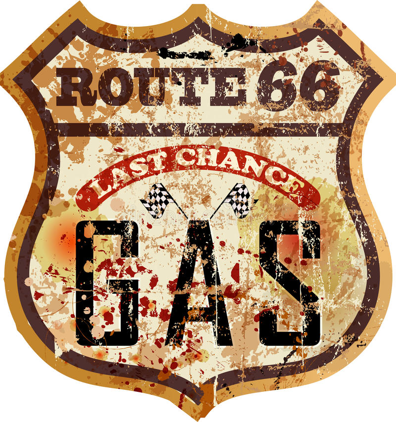 Retro route 66 benzinestation royalty-vrije illustratie