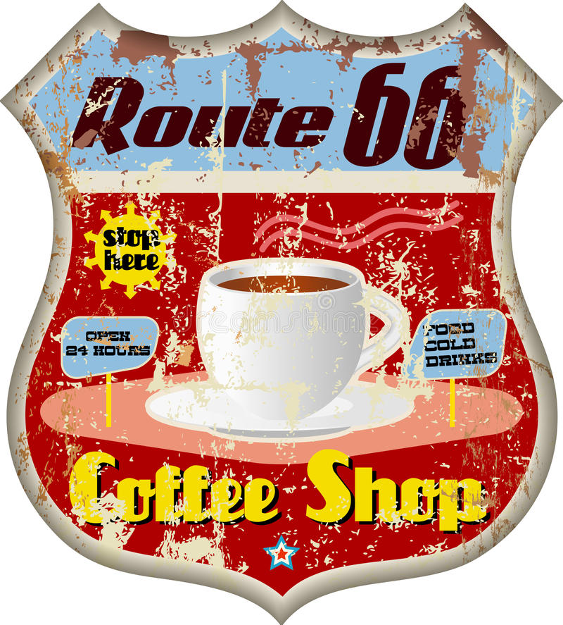 Retro route 66 coffee shop sign vector illustration