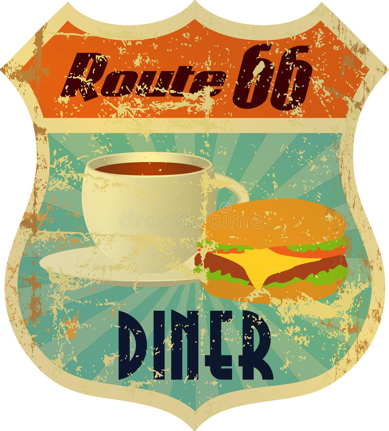 Retro route 66 diner sign royalty free illustration
