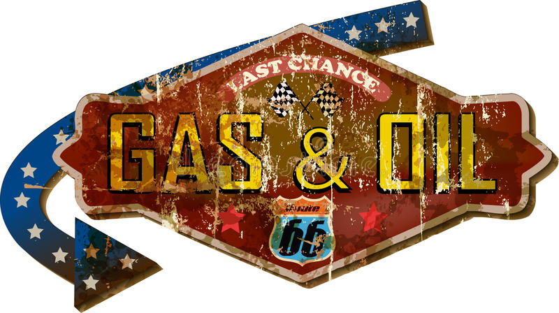 retro route 66 gas station street sign vector illustration