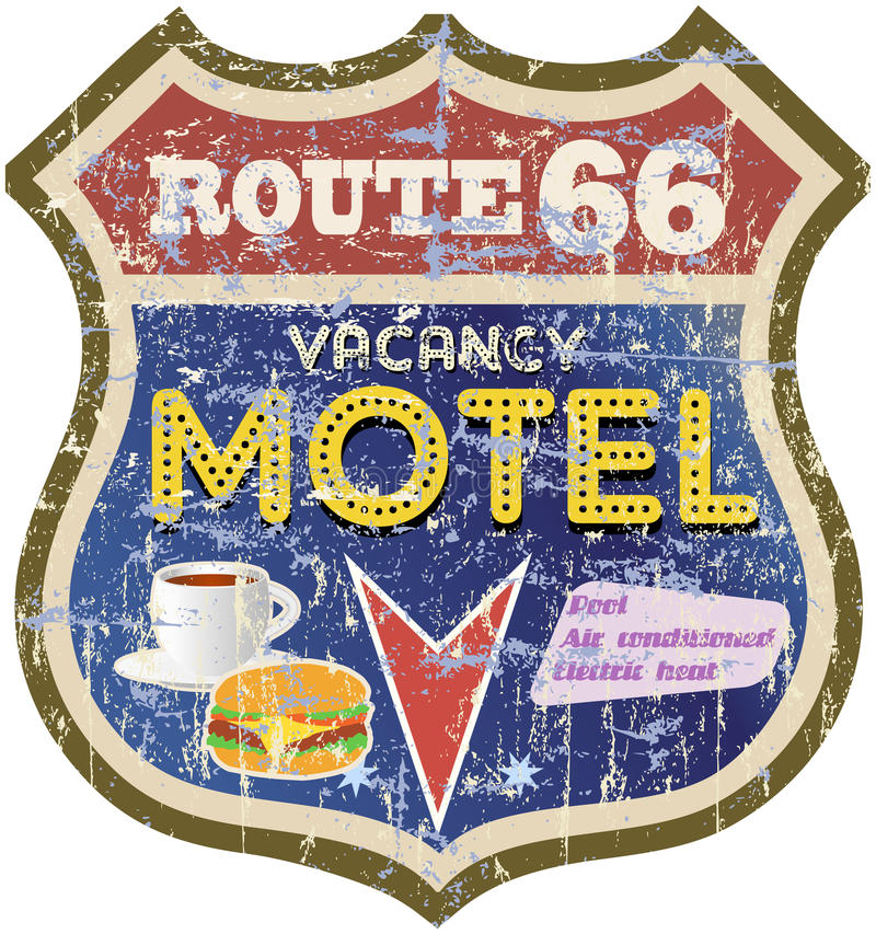 Retro route 66 Motel sign royalty free illustration