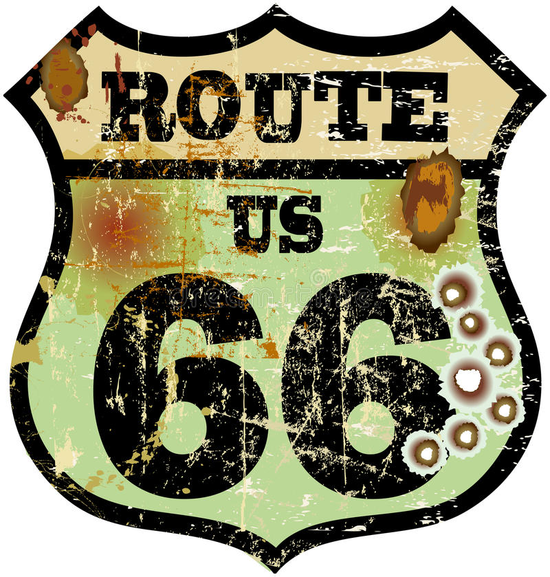 Retro route 66 sign. Vintage route 66 road sign with bullet holes, retro style, vector illustration vector illustration