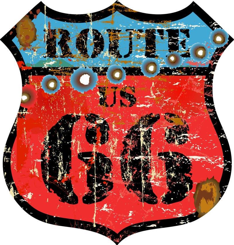 Retro route 66 sign vector illustration