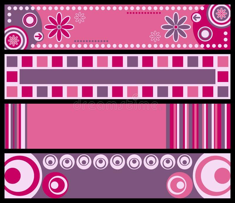 Retro [Roze] Banners royalty-vrije illustratie