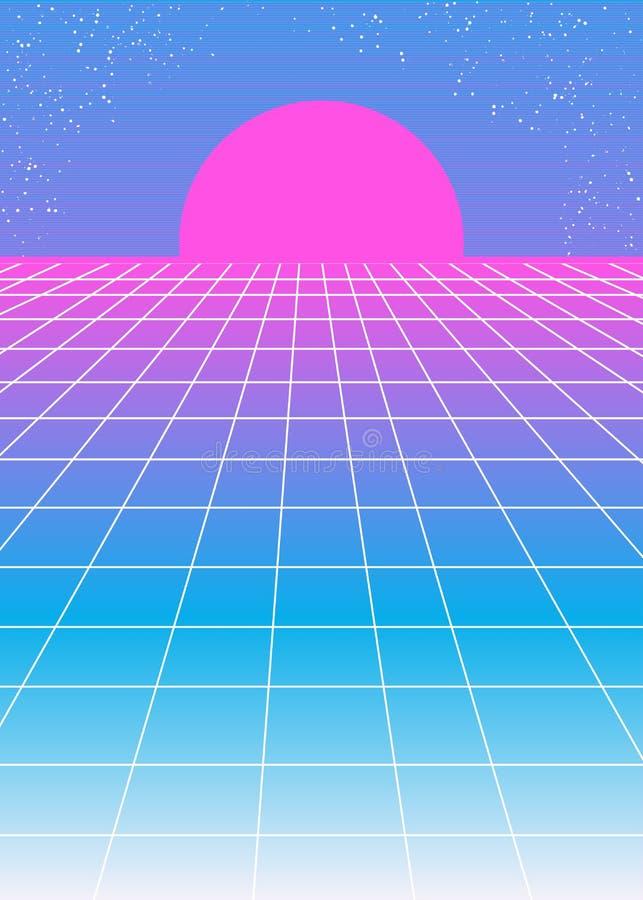Retro roze blauwe achtergrond de jaren '80stijl met roze zon stock illustratie