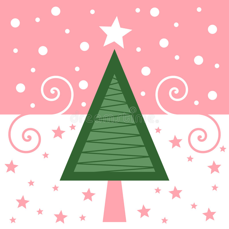 Retro [Roze] Kerstkaart stock illustratie