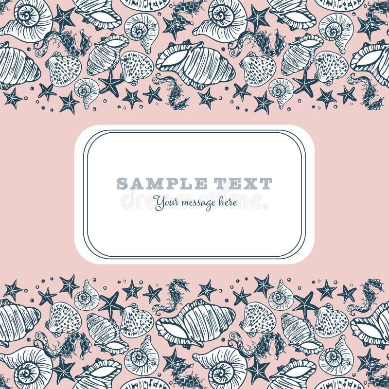 Retro roze, wit en marine seahorse, zeester en zeeschelpkaart of brochuremalplaatje stock illustratie