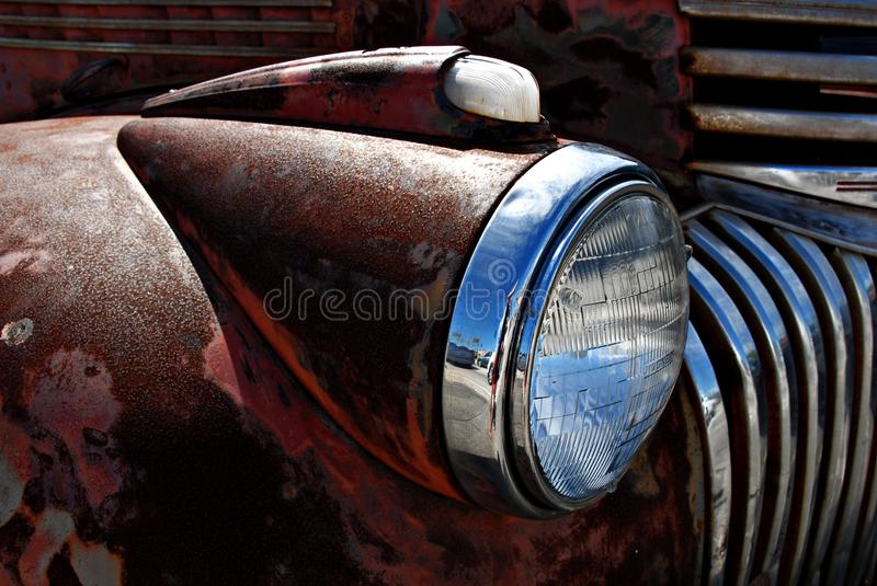 Retro Rusty Patina Antique Chevy Chevrolet pick up truck from 1946 on display in Ft Lauderdale1946. Rusty patina antique Chevy Chevrolet pick up truck from 1946 royalty free stock image