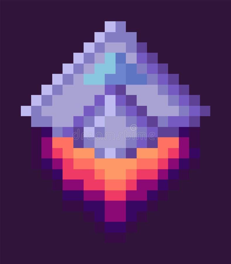 Retro rymdskepp, PIXEL Art Game Rocket på natten vektor illustrationer