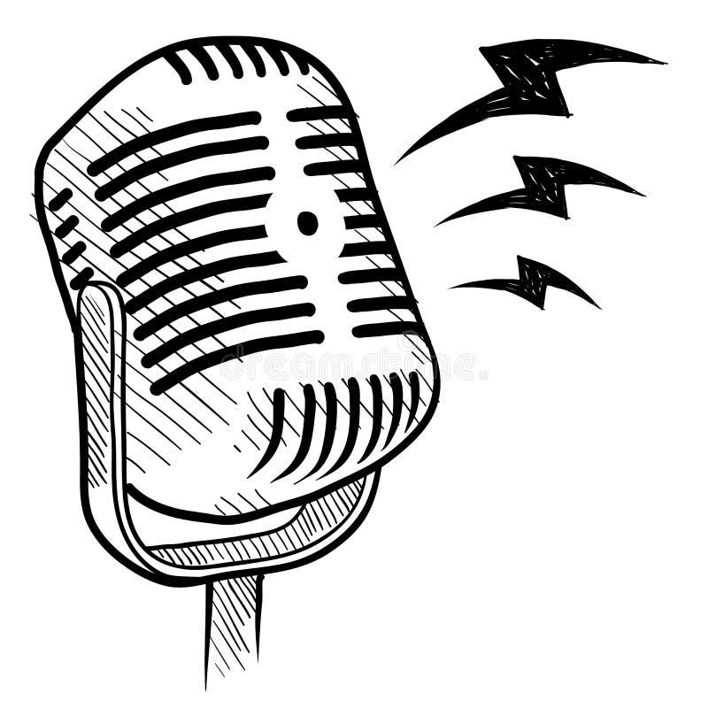retro rysunkowy mikrofon ilustracja wektor