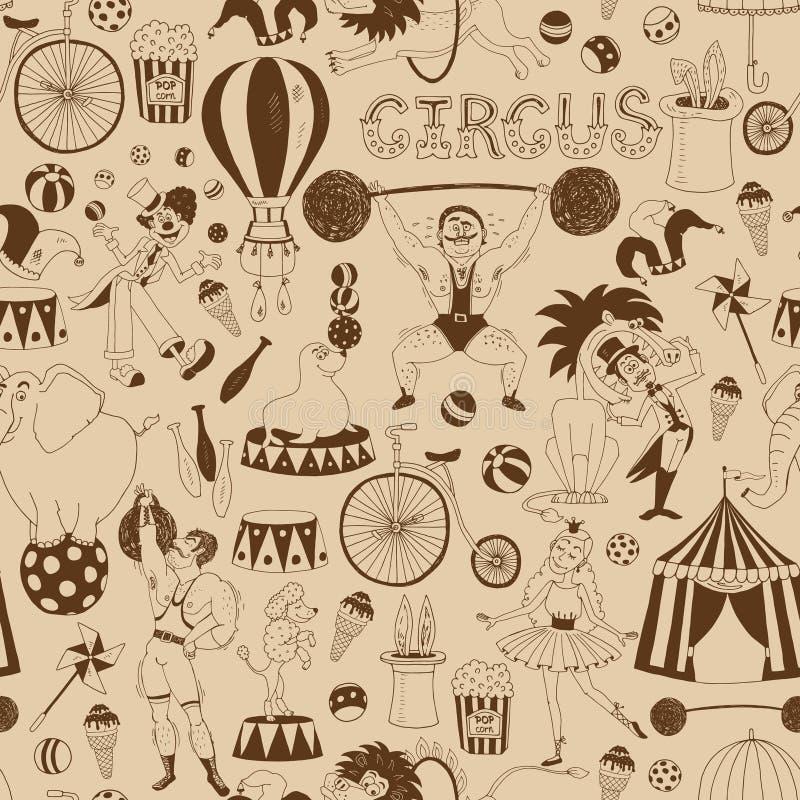 Retro sömlös cirkusbakgrundsmodell stock illustrationer