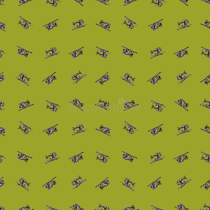 Retro sömlös gräsplan för modellsymaskinvattenfärg royaltyfri illustrationer