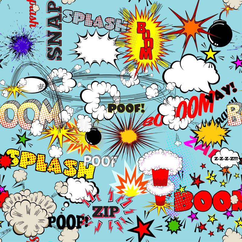Retro sömlös modell för vektor med komiska anförandebubblor, etiketter, logoer och humorbokord royaltyfri illustrationer