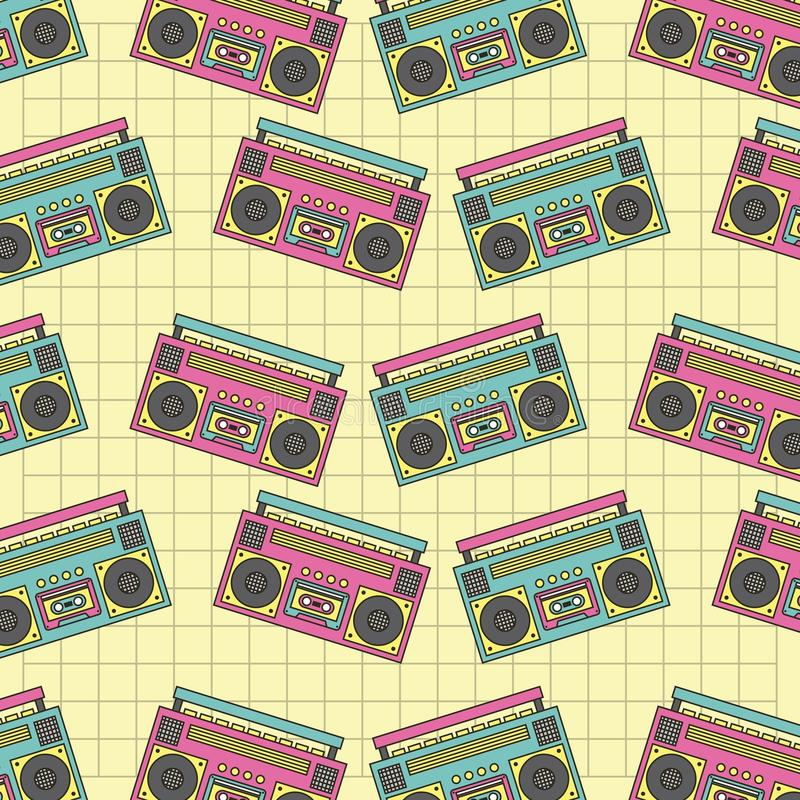 Retro sömlös musik för apparat för modellbandspelare90-tal royaltyfri illustrationer