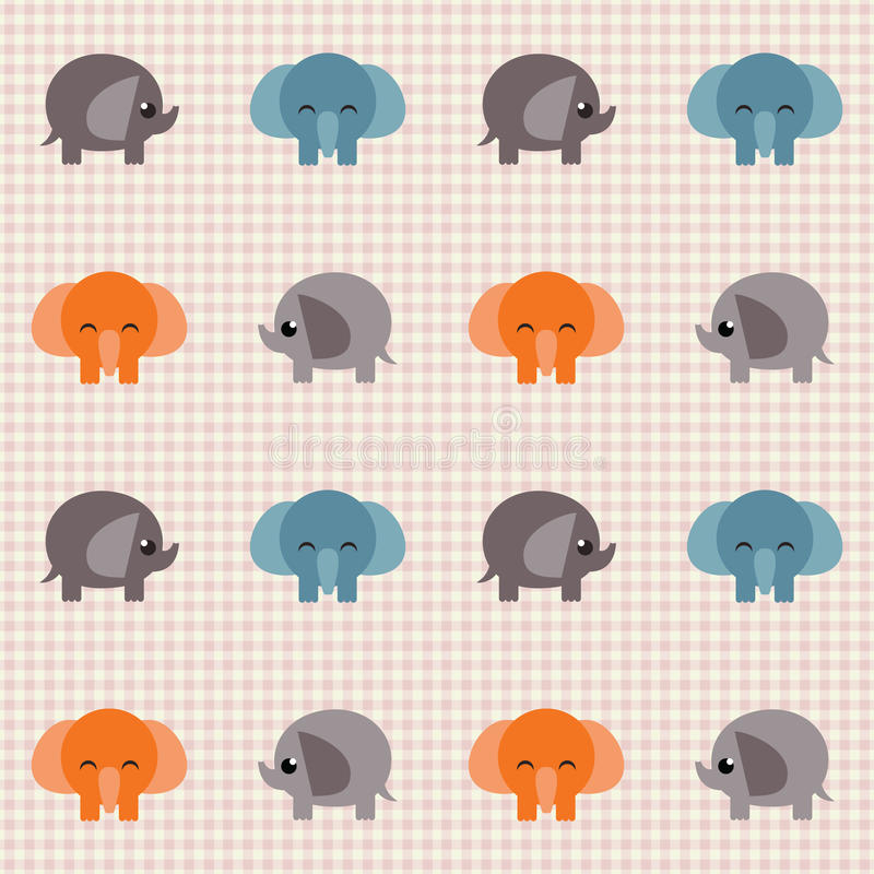 Retro Słonia Sprawdzać śliczny Wzór Trochę Obrazy Stock